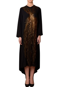 black-viscose-georgette-bead-hand-embroidered-dress