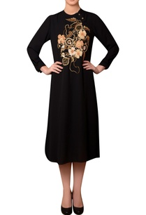 black-viscose-georgette-bead-thread-hand-embroidered-dress