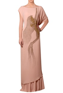 peach-viscose-georgette-bead-hand-embroidered-dress