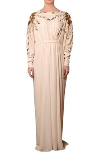 peach-viscose-georgette-bead-thread-hand-embroidered-dress