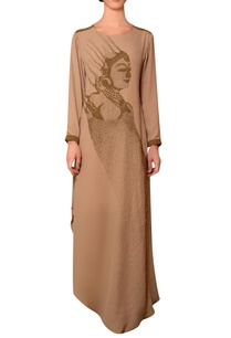 beige-viscose-georgette-bead-hand-embroidered-dress