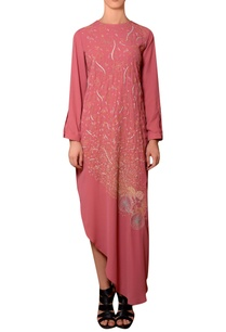 dark-peach-viscose-georgette-thread-hand-embroidered-dress
