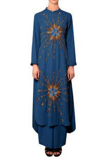 teal-blue-viscose-georgette-bead-thread-hand-embroidered-kurta-with-pleated-palazzos