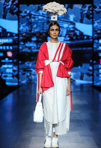 red-wool-deconstructive-jacket-with-white-egyptian-cotton-chequered-tunic-crop-pants