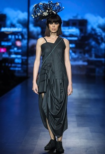 black-poly-cotton-draped-midi-dress