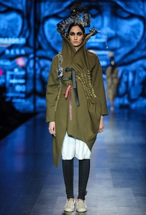 military-green-wool-embellished-over-coat-with-white-egyptian-cotton-tunic-black-scuba-pants