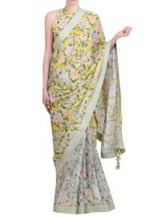 yellow-crepe-bibi-jaal-printed-half-and-half-sari-with-embroidered-jaal-blouse