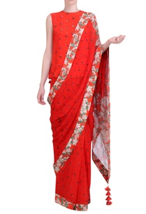 carrot-orange-chiffon-jaal-work-saree-with-blouse