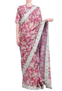 hot-pink-crepe-bibi-jaal-printed-crepe-saree-with-blouse