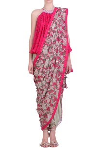 hot-pink-crepe-embroidered-halter-neck-blouse-with-cowl-dhoti-saree