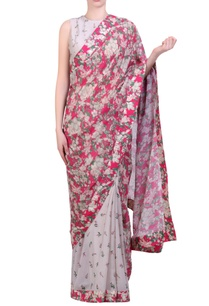 hot-pink-crepe-georgette-bibi-jaal-printed-half-and-half-sari-with-grey-printed-embroidered-blouse