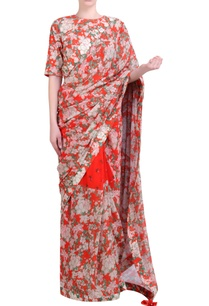 carrot-orange-georgette-bibi-jaal-bouquet-printed-half-and-half-saree-with-embroidered-blouse