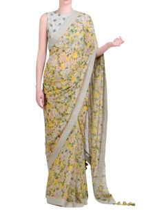 yellow-chiffon-printed-sari-with-embroidered-blouse