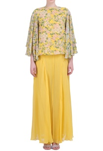 yellow-georgette-bibi-jaal-printed-flared-top-with-sharara