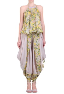 yellow-crepe-bibi-jaal-printed-flared-top-with-natural-cowl-dhoti