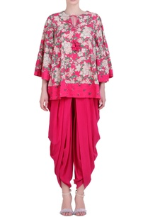 hot-pink-cotton-georgette-bibi-jaal-printed-top-with-cowl-dhoti