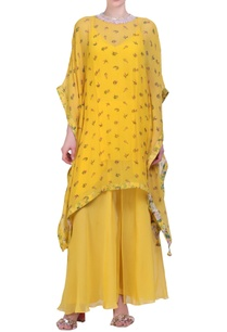 yellow-chiffon-printed-kaftan-with-sharara