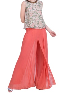 grey-crepe-bibi-jaal-printed-back-open-top-with-carrot-orange-sharara