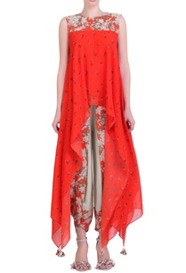 carrot-orange-crepe-jaal-bouquet-printed-asymmetrical-top-with-jade-cowl-dhoti