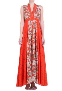 carrot-orange-cotton-bibi-jaal-printed-dress