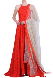 carrot-orange-crepe-printed-embroidered-halter-neck-kalidar-kurta-with-churidar-mukaish-net-embroidered-dupatta