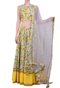 yellow-cotton-bibi-jaal-printed-lehanga-with-blouse-mukaish-embroidered-dupatta