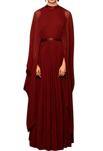 burgandy-chiffon-solid-cape-gown