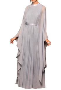 bluish-grey-chiffon-solid-cape-gown