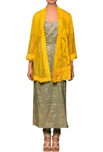 greenish-grey-yellow-cotton-cotton-dhakai-modal-slub-hand-embroidered-kurta-with-overlay