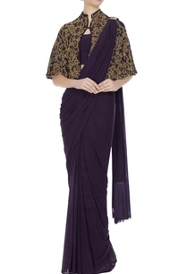purple-concept-saree-with-attached-drape-blouse-with-cape