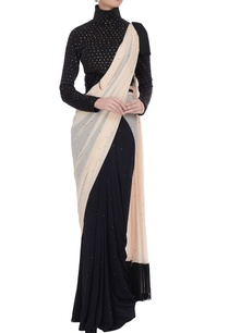 black-cream-embellished-concept-saree-with-high-neck-blouse