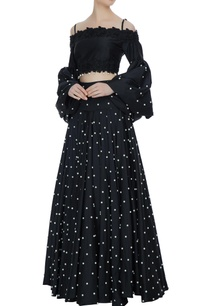 black-off-shoulder-blouse-with-flared-lehenga