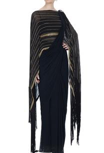 black-concept-saree-with-attached-pallu-drape-blouse