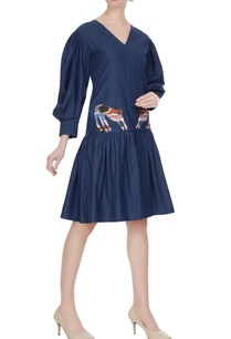 navy-blue-trumpet-sleeve-denim-midi-dress-with-embroidered-tiger-patch