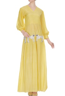 yellow-tiger-motif-maxi-dress-with-trumpet-sleeves