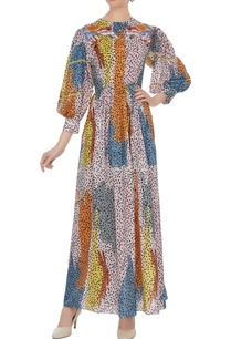 multicolored-leopard-printed-gathered-sleeve-dress