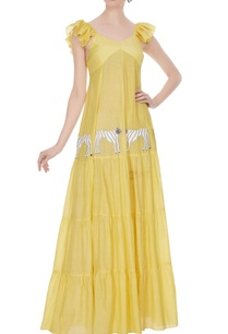 yellow-tiered-style-embroidered-tiger-maxi-dress