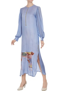 blue-tiger-motif-double-slit-tunic-dress