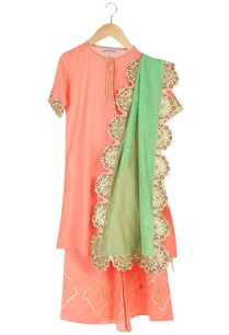 coral-organic-cotton-kurta-with-palazzos-scallop-border-dupatta