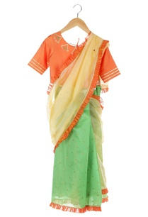 orange-green-ruffle-border-pre-draped-sari-with-blouse