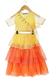 yellow-orange-tiered-style-skirt-with-wrap-blouse