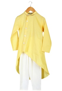yellow-wrap-style-organic-cotton-kurta-with-elastic-waist-pants