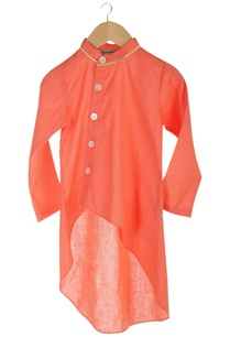 peach-organic-cotton-wrap-kurta-with-churidar