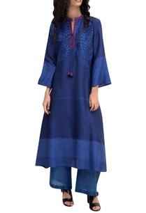 blue-chanderi-block-printed-embroidered-kurta