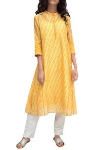 saffron-yellow-chanderi-tie-dye-kurta