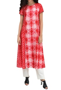 red-silk-block-printed-kurta