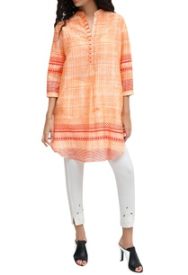 orange-chanderi-block-printed-signature-hand-brushed-tunic