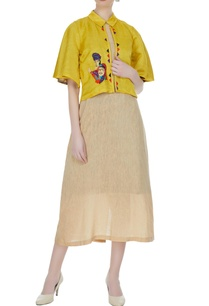 bronze-tussar-linen-dress-with-mustard-french-knot-embroidered-jacket