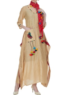 beige-kaftan-with-colorful-french-knot-motifs-scarf
