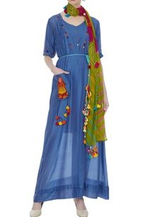 blue-modal-silk-maxi-dress-with-bandhani-hand-dyed-scarf
